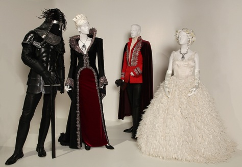 "Once Upon a Time: Nominated for 2012 Emmy® for Outstanding Costume Design: by Costume Designer, Eduardo Castro and Assistant Costume Designer, Monique McRae. These costumes can be seen in ""The Outstanding Art of Television Costume Design"" exhibition in the FIDM Museum & Galleries at FIDM/Fashion Institute of Design & Merchandising, Los Angeles. Celebrating 2011-2012 television costume design, the exhibition is free to the public and runs Tuesday, July 31 through Saturday, October 20, 2012, 10:00 a.m. - 5:00 p.m.; closed Sunday/Monday.(L to R): Costumes worn by actors: Jamie Dornan as The Black Knight, Lana Parrilla as Evil Queen, Josh Dallas as Prince Charming, Ginnifer Goodwin as Snow White (Alex J. Berliner/ABimages)"